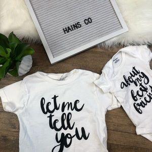Sibling Set Shirts- White Bodysuit and Tshrit